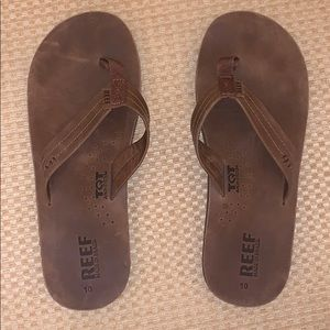 Men's Reef brown leather flip flops